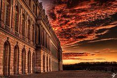 Burning Sky Over Versailles Palace