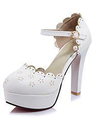 Mujer-Tacón Robusto-Zapatos del club-Tacones-Boda Oficina y Trabajo Fiesta y Noche-PU-Rosa Blanco Beige
