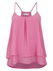 Cute layered sleeping cami with front pleat.