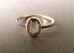 Rose cut diamond ring. 14k pink gold. Rose cut by ValerieKStudio