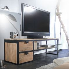 Banc TV en teck 140 Urban-Meuble TV-Tikamoon