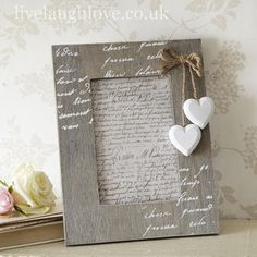 Photo frames are a simple way to add shabby chic or vintage style. Perfect for framing memories, Live Laugh Love have many styles of shabby chic photo frames. Picture Frame Crafts, Wooden Picture Frames, Picture On Wood, Wood Photo, Diy Home Crafts, Diy Arts And Crafts, Shabby Chic Photo Frames, Photo Frame Decoration, Shabby Chic Gifts