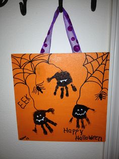 Spider hand prints for Halloween cute keep sake decoration