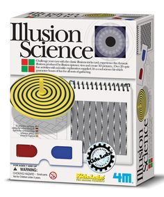 Toysmith Illusion Science Kit includes illusion tricks card, spinning top with four illusion cards, carry pouch and detailed information on each optic activity. Educational Toys For Kids, Kids Toys, Illusion Tricks, Clever Gadgets, Patterned Sheets, Science Kits, Kits For Kids, Kids Education, Optical Illusions