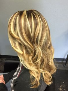 Strands and bands blonde highlights and Carmel lowlights waves
