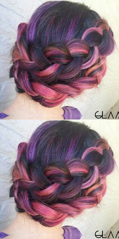 Pink purple hints in a double braided updo crown dyed hairstyle @glamiris