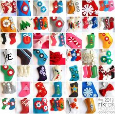 stockings from Rikrak (Etsy) shop. This would be a great craft to do with kids.