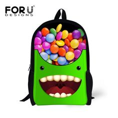 FORUDESIGNS Funny Printing Girls Boys School Bags f94f708781c66