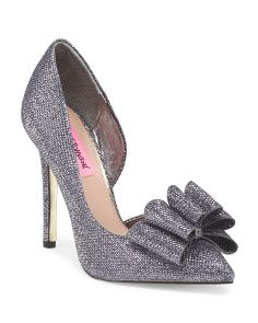 Betsy Johnson Posey Pump With Bow in Pewter