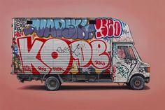 Kevin Cyr's series of both European and US vehicles continues to grow. Commercial vehicles inundated with graffiti and rust, working vehicles, and well-travelled recreational vehicles. He puts his vehicles on… Graffiti Tagging, Graffiti Art, Vans, Street Art, Urban Art, Art Cars, Concept Art, Contemporary Art, Illustration Art