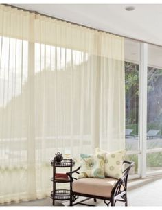 Classic Wave Fold Drapery in 532 Sheer Voile/ Champagne 532