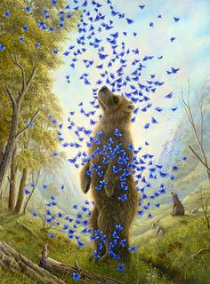 Robert Bissell - Contemporary fine art and prints Art And Illustration, Illustrations, Cute Bear, Big Bear, The Embrace, All About Animals, Wow Art, Bear Art, Whimsical Art