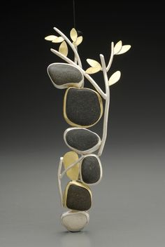 Paulette Werger, Beyond the Garden Gate Brooch, 18-karat gold, 24-karat gold, sterling silver, pebbles