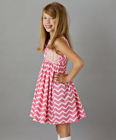 Coral Chevron & Dot Emma Dress - Toddler & Girls