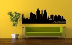 https://www.etsy.com/shop/StickItStickers Cincinnati Ohio Skyline Silhouette Wall Decal by StickItStickers