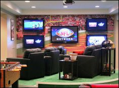 Man Cave Decorating Ideas --- Lounge Note: Absolutely intense. Every man needs this type of set up in his life.