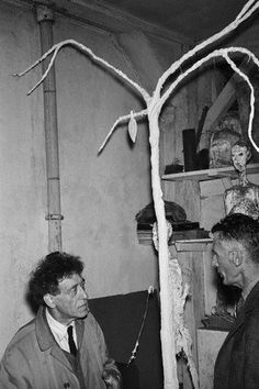 """Samuel Beckett and Giacometti discussing the tree for """"waiting for Godot"""""""