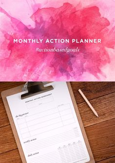 The Monthly Action Worksheet | Action-Based Goal Setting - Magnoliahouse Creative