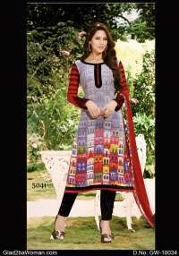 Elegant Grey & Multi-color Georgette Semi Stiched Suit