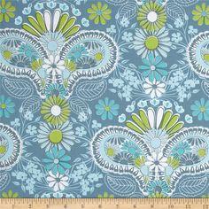 Jenean Morrison Lovelorn Damask Blue from @fabricdotcom  Designed by Jenean Morrison for Free Spirit, this cotton print is perfect for quilting, apparel and home decor accents.  Colors include white, lime and shades of blue.
