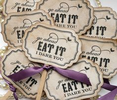Eat It I Dare You Cupcake Toppers - Gothic or Halloween Weddings - Set of 8 on Etsy, $9.20