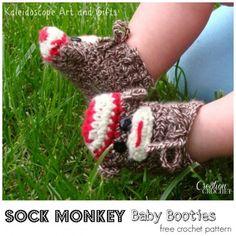 Sock Monkey Baby Booties free crochet pattern #cre8tioncrochet #kaleidoscope Art…