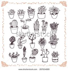 stock-vector-set-of-hand-drawn-plants-in-pots-doodles-on-white-background-267024689.jpg (450×470)