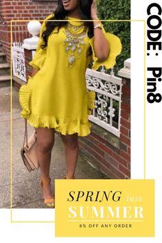 Catch the trend with this fashion sweet ruffle design yellow blending mini dress. Curvy Fashion, Girl Fashion, Plus Size Fashion, Fashion Ideas, Fashion Looks, Womens Fashion, Sexy Dresses, Cute Dresses, Fashion Dresses