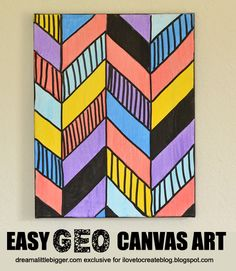 Easy Home Decor Art - Geo Canvas Wall Art Tutorial from @ILoveto Create