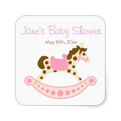 Pink Rocking Horse Baby Shower Stickers