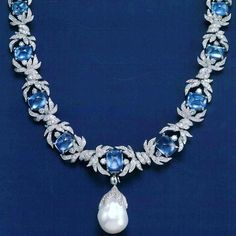 By @verdurajewelry #sapphire #diamonds #pearl #necklace  #mm_mucevhermagazin