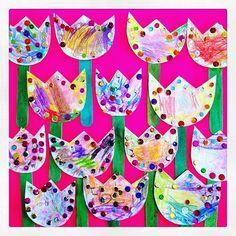 Tulipanes de papel que hicieron mis alumnos de 1ero de Preescolar en clases de #Arte 🌷
