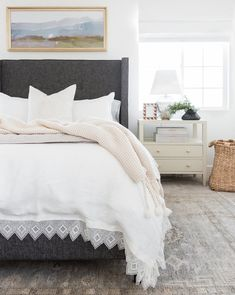 Oxford Lace Linen Duvet Cover in Ivory