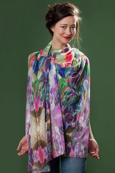Colorful Floral Chiffon Scarf , Chiffon Wide Scarf , Purple Scarf , Art To Wear , Flower Collage Scarf ,  Limited Edition , Free Shipping