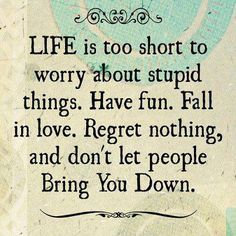 life is too short to worry about stupid things. have fun. fall in love. regret nothing, and don't let people bring you down. +++For more quotes on #life and #happiness, visit http://www.hot-lyts.com/