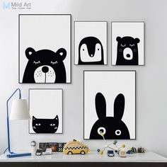 Black White Kawaii Animals Bear Rabbit Poster Prints Nordic Baby Kids Room Wall Art Pictures Home Decor Canvas Painting No Frame Wall Art Pictures, Canvas Pictures, Print Pictures, Kids Room Paint, Kids Room Wall Art, Animal Art Prints, Canvas Art Prints, Painting For Kids, Painting Frames
