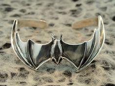 Silver Bat Cuff Bracelet by martymagic on Etsy, $195.00