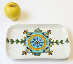 Floral white rectangel tray - serving tray - gift idea - home decor - serveware by EdnaGalili on Etsy