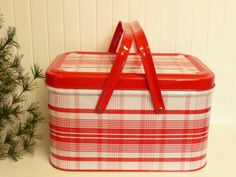 NEAR MINT Vintage Red Plaid Picnic Basket Tin by NewLifeVintageRVs