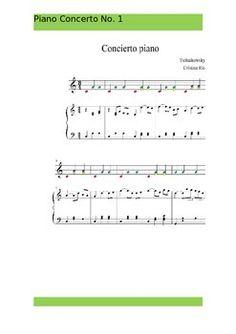 Tchaikovsky Piano Concerto No.1 ,piano score and easy boomwhackers acompaniament.