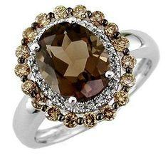 [white gold smoke topaz brown diamond jewelry