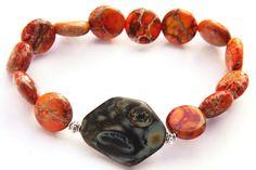 Red Orange Sea Sediment Jasper Stone Bracelet Green by KapKaDesign, $65.00