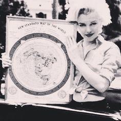 Marilyn Monroe holding a flat earth map. #flatearth #marilynmonroe #truth