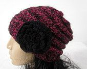 Knitted Winter Hat With Flower -  Woman's Knit Slouchy Hat - Chunky - Beret - Winter -  Ski Oversized Hat - Wool Beret-  READY TO SHIP