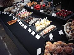 All set up at Altrincham Market. Really enjoyed the huge table - seems we brought the kitchen sink so it came in handy! Patisserie and chocolate including chocolate & praline domes, billionaires bar, and pear & tonka choux buns (13/07/14 - Eponine Patisserie & Chocolaterie)