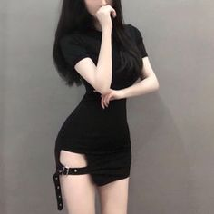 Short sleeve hip split dress in 2019 Gothic Outfits, Edgy Outfits, Mode Outfits, Korean Outfits, Grunge Outfits, Fashion Outfits, Fashion Boots, Women's Fashion, Ulzzang Fashion