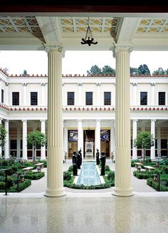 Opened in 1974 by oil tycoon J. Paul Getty, the Getty Villa is situated on a hill that overlooks the Pacific Ocean. Visitors can wander thro...