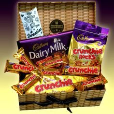 Cadbury Crunchie Chocolate Lovers Treasure Hamper Gift Box - Bars, Rocks, Biscuits & Dairy Milk Bar - Great Birthday Gift Idea - By Moreton Gifts Cadbury Crunchie, 25th Birthday Gifts, Birthday Gifts For Sister, Christmas Gift Baskets, Christmas Gifts, Birthday Hampers, Gift Hampers, Chocolate Lovers