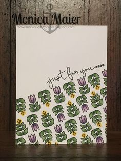 Hero Arts Just For You clear stamp Set. By Lia. I stamped my images at an angle across the card and stamped my sentiment right above the flowers. Colored the flowers with copics to finish…