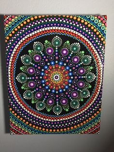 Hand Painted Mandala on Canvas Mandala Meditation by MafaStones
